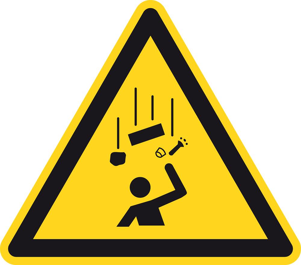 warnzeichen warnung vor herabfallenden gegenst nden folie selbstklebend schenkell nge 5 cm. Black Bedroom Furniture Sets. Home Design Ideas